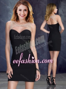 2016 Sexy Beaded Top Elastic Woven Satin Dama Dress in Black