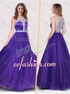 2016 Sexy See Through Scoop Empire Purple Dama Dress with Beading