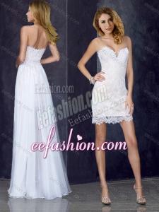 2016 Short Inside Long Outside Laced White Dama Dress