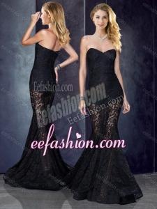 2016 Short Inside Long Outside Mermaid Black Dama Dress in Lace