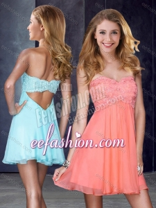 2016 Simple Applique and Sequined Short Dama Dress in Peach