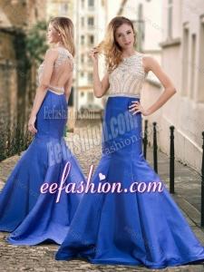 2016 Stylish Backless Beaded Royal Blue Prom Dress with Brush Train