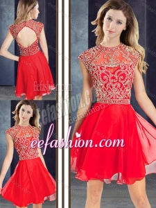 2016 Stylish Scoop Beaded Red Short Prom Dress with Cap Sleeves