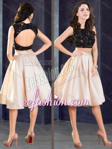 2016 Stylish Two Piece Open Back Prom Dress in Champagne and Black