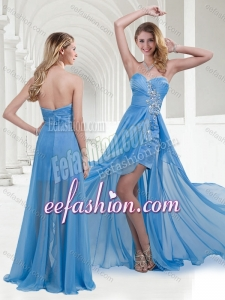2016 Stylish Zipper Up Baby Blue Long Prom Dress with Beading