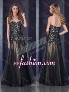 2016 Top Selling Empire Applique Black Dama Dress in Tulle