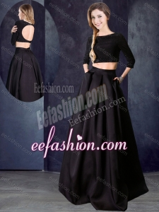 2016 Two Piece Bateau Beaded Black Formal Prom Dress with Three Fourths Length Sleeves