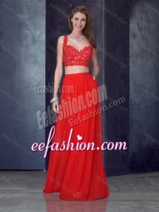 2016 Two Piece Column Straps Red Dama Dress with Appliques