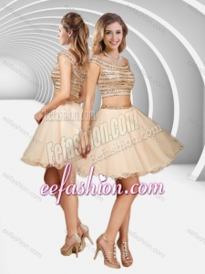 2016 Two Piece Off the Shoulder A Line Sequined Formal Prom Dress in Champagne