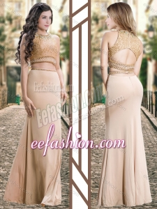 2016 Two Piece Scoop Chiffon Champagne Stylish Prom Dress with Beading