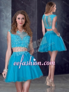 2016 Two Piece Short Bateau Teal Stylish Prom Dress with Appliques