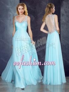 2016 V Neck Applique Light Blue Dama Dress with See Through Back