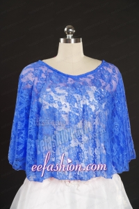 Royal Blue Lace Hot Sale 2015 Wraps with Beading