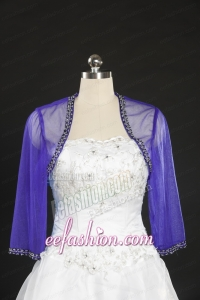 Simple Beading Purple Long Sleeves Wraps for 2015