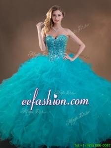 Exquisite Big Puffy Teal Sweet 16 Gown with Beading and Ruffles