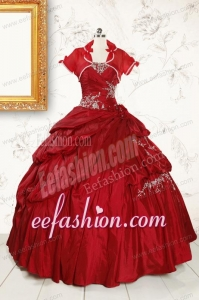 2015 Puffy Appliques Wine Red Remarkable Quinceanera Dresses