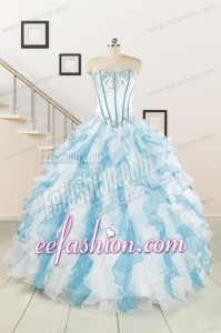 2015 Pretty Appliques and Ruffles Quinceanera Dresses in Multi-color