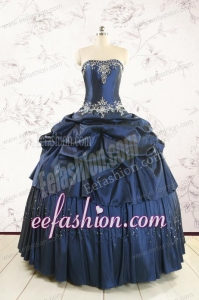 Cheap Navy Blue Quinceanera Dress with Embroidery and Pick Ups