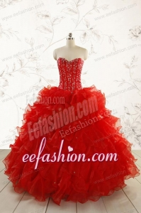 2015 Most Popular Red Quinceanera Dresses with Beading