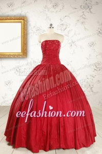 Cheap Red Strapless Sweet 16 Dresses with Beading