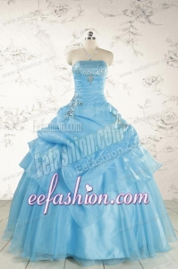 Pretty Aqua Blue Quinceanera Dresses with Appliques for 2015