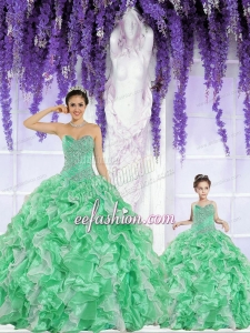 2015 Spring Hot Sales Beading and Ruffles Green Princesita Dress