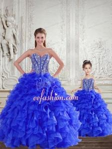 Fashionable Royal Blue Princesita Dress with Beading and Ruffles for 2015