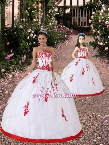 Satin and Organza Appliques Princesita Dress in White and Red