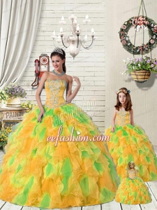 Super Hot Ruffles and Beading Orange and Green Princesita Dress for 2015