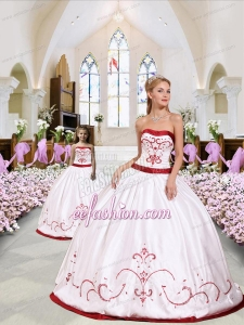 White and Red Satin Princesita Dress with Embroidery