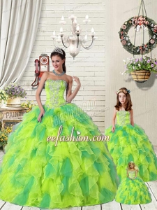 Wonderful Ruffles and Beading Yellow and Green Princesita Dress for 2015