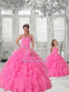 Beading Strapless Hot Pink Princesita Dress with Ruffles and Ruching