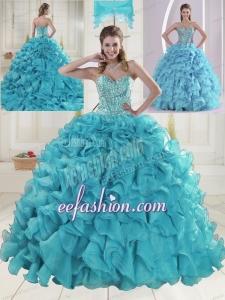 Fashionable Sweetheart 2015 Quinceanera Dresses in Aqua Blue
