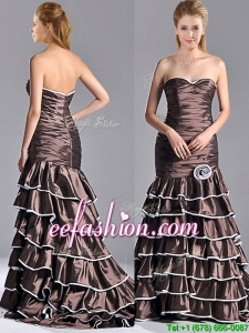 2016 Luxurious Mermaid Ruffled Layers Prom Dress with Brush Train