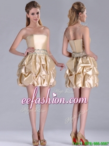 Beautiful Strapless Beaded and Bubble Short Prom Dress in Champagne