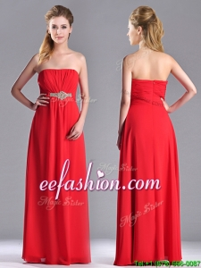 Beautiful Strapless Chiffon Red Prom Dress with Beading and Ruching