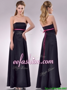 Classical Black Ankle Length Prom Dress with Hot Pink Belt