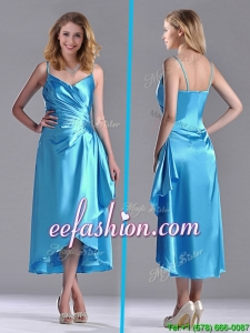 Classical Spaghetti Straps Baby Blue Prom Dress in Tea Length