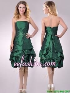 Classical Taffeta Strapless Bubble Prom Dress in Dark Green