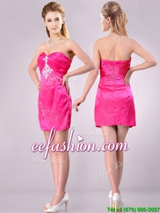 Discount Applique with Beading and Rhinestoned Prom Dress in Hot Pink
