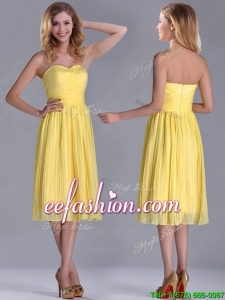 Discount Pleated Yellow Chiffon Prom Dress in Tea Length