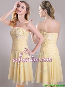 Elegant Applique Chiffon Yellow Short Prom Dress with Side Zipper