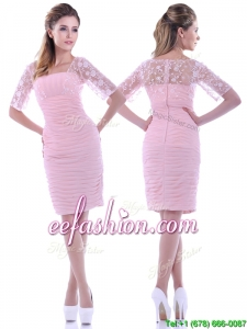 Elegant Ruched and Laced Square Baby Pink Prom Dress with Half Sleeves