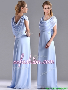 Elegant Spaghetti Straps Light Blue Long Mother Of The Bride Dress in Chiffon