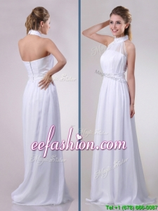 Empire Halter Top Applique Decorated Waist White Prom Dress in Chiffon