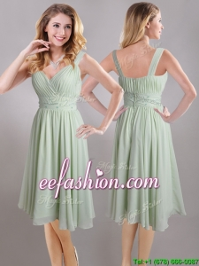 Exclusive Beaded and Ruched Apple Green V Neck Prom Dress in Chiffon