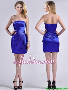 Exquisite Column Strapless Royal Blue Prom Dress in Taffeta