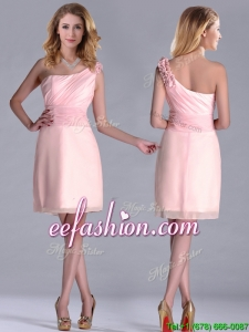 Exquisite One Shoulder Side Zipper Prom Dress in Baby Pink