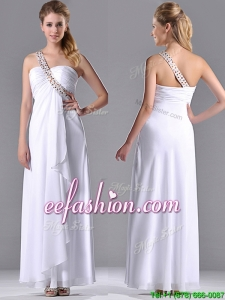 Fashionable Empire One Shoulder Chiffon Side Zipper White Prom Dress with Beading