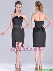 Fashionable Front Short Back Long V Neck Prom Dress in Black